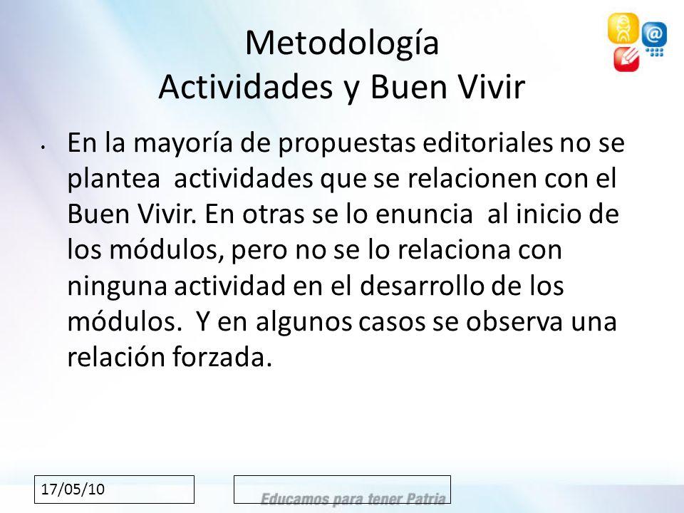 17/05/10 Metodología Actividades y Buen Vivir En la mayoría de propuestas editoriales no se plantea actividades que se relacionen con el Buen Vivir.