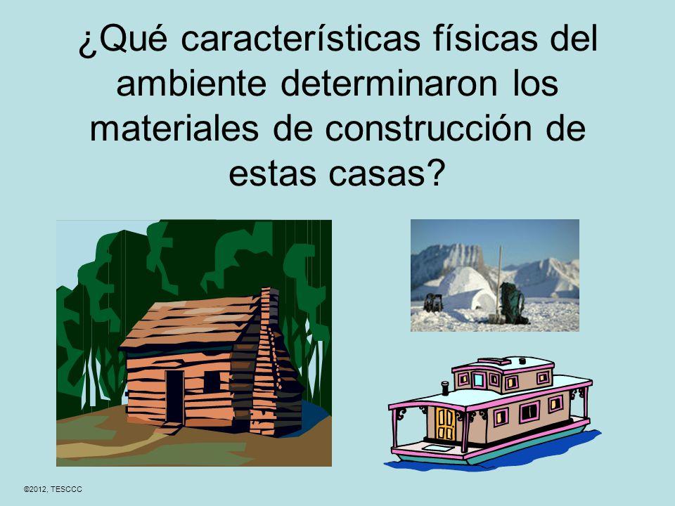 ¿Qué características físicas del ambiente determinaron los materiales de construcción de estas casas.