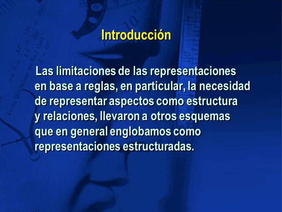 Las limitaciones de las representaciones en base a reglas, en particular, la necesidad de representar aspectos como estructura y relaciones, llevaron a otros esquemas que en general englobamos como representaciones estructuradas.