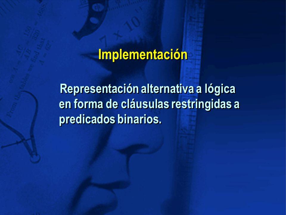 Implementación Representación alternativa a lógica en forma de cláusulas restringidas a predicados binarios.