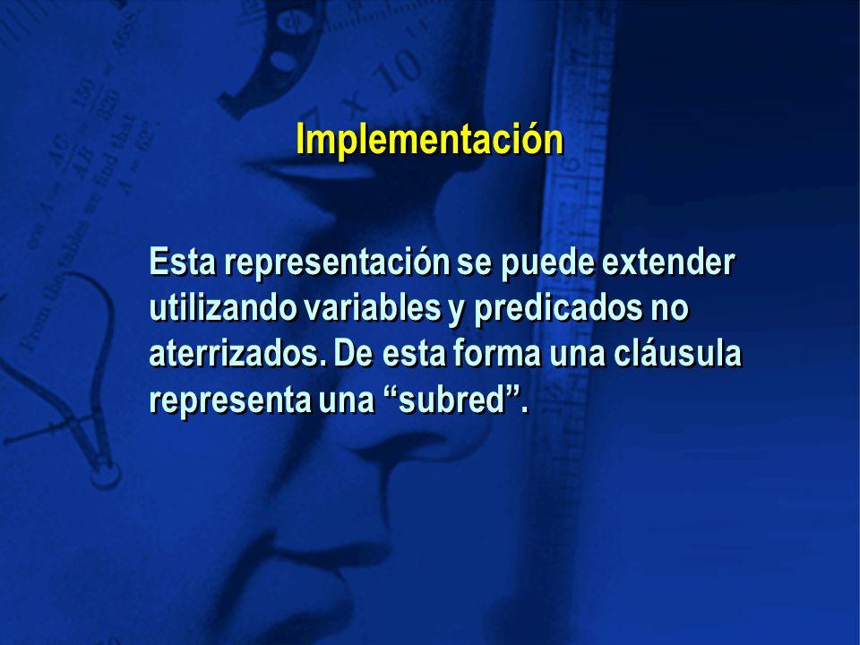 Implementación Esta representación se puede extender utilizando variables y predicados no aterrizados.