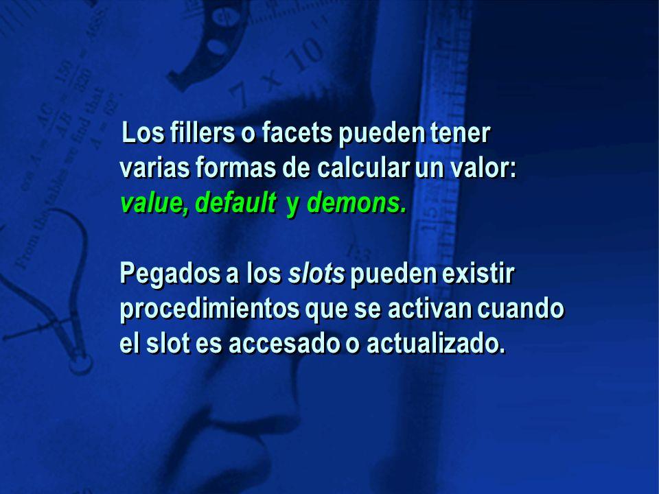 Los fillers o facets pueden tener varias formas de calcular un valor: value, default y demons.