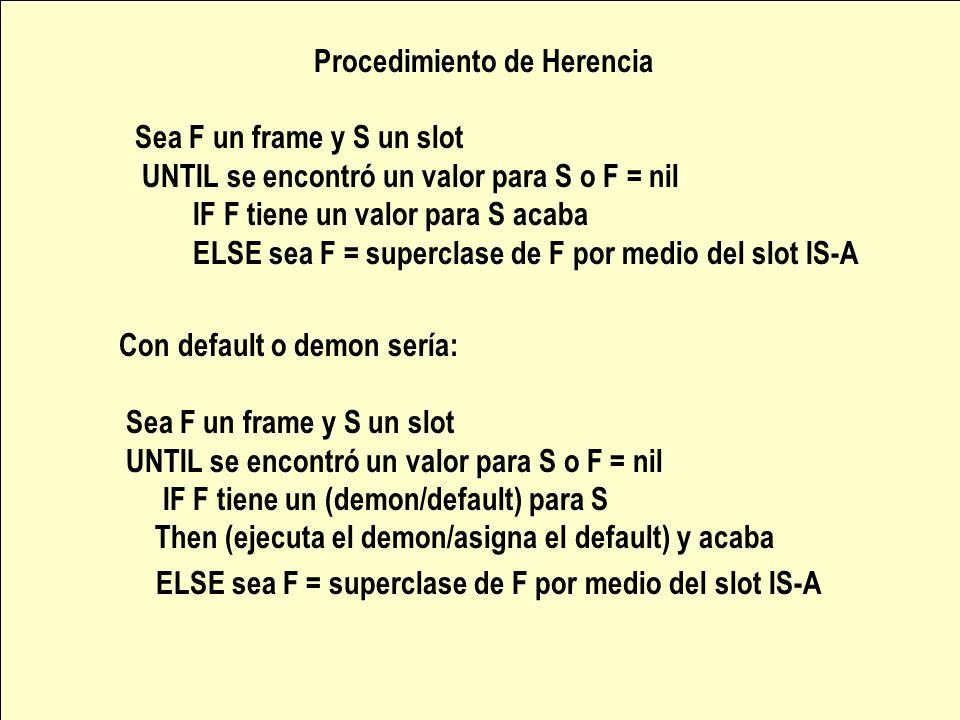 Procedimiento de Herencia Sea F un frame y S un slot UNTIL se encontró un valor para S o F = nil IF F tiene un valor para S acaba ELSE sea F = superclase de F por medio del slot IS-A Con default o demon sería: Sea F un frame y S un slot UNTIL se encontró un valor para S o F = nil IF F tiene un (demon/default) para S Then (ejecuta el demon/asigna el default) y acaba ELSE sea F = superclase de F por medio del slot IS-A
