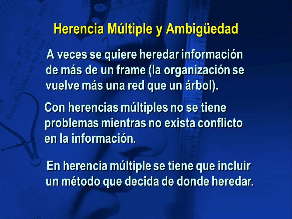 Herencia Múltiple y Ambigüedad A veces se quiere heredar información de más de un frame (la organización se vuelve más una red que un árbol).
