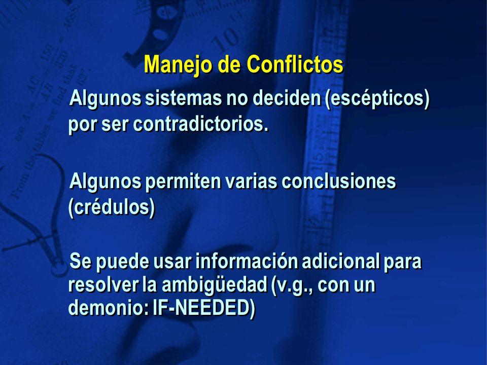 Manejo de Conflictos Algunos sistemas no deciden (escépticos) por ser contradictorios.
