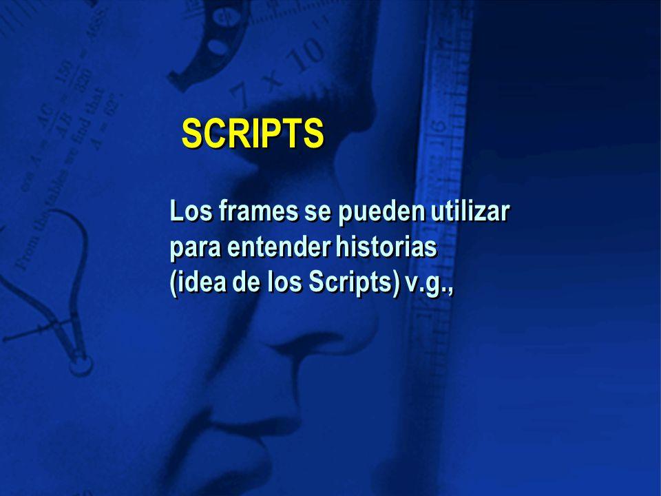 SCRIPTS Los frames se pueden utilizar para entender historias (idea de los Scripts) v.g.,