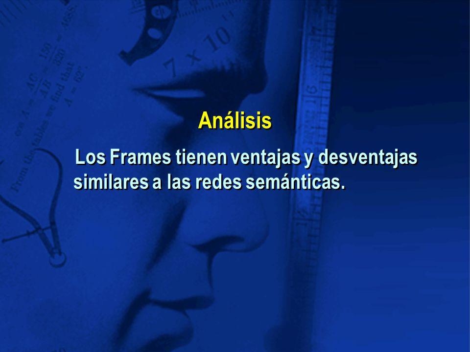 Análisis Los Frames tienen ventajas y desventajas similares a las redes semánticas.