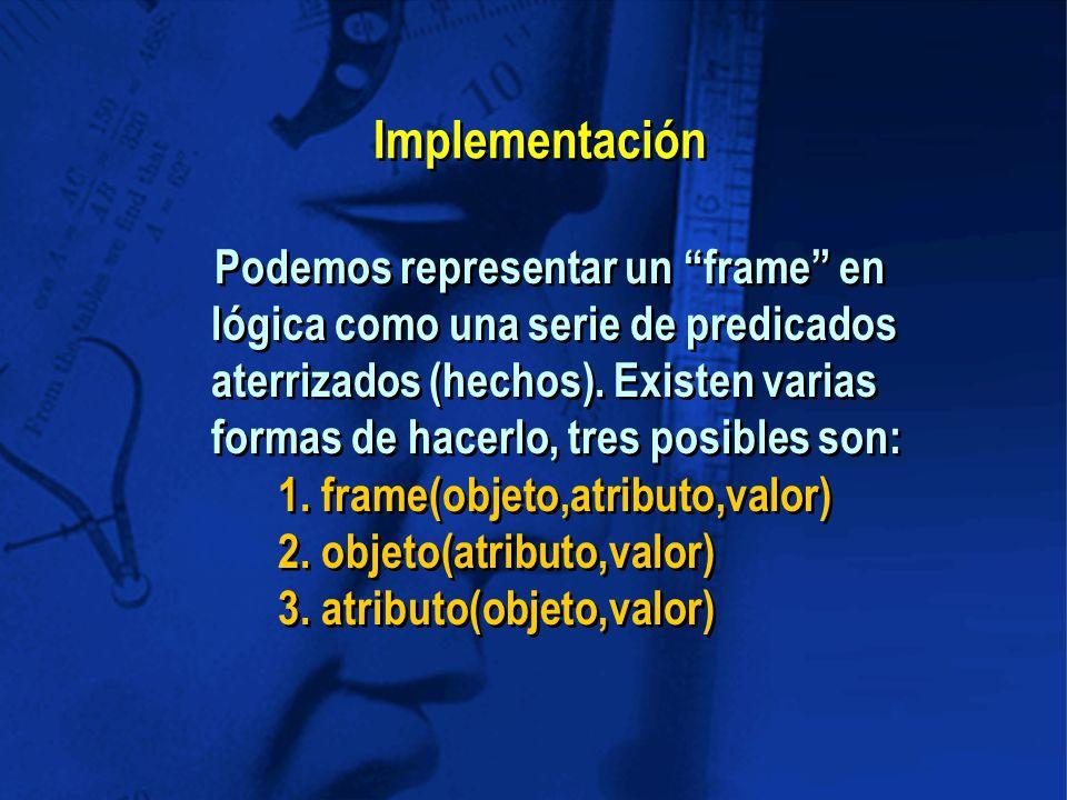 Implementación Podemos representar un frame en lógica como una serie de predicados aterrizados (hechos).