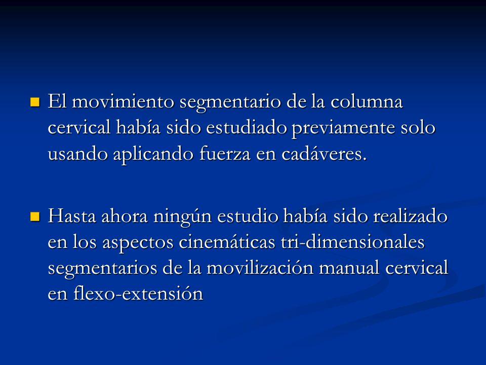 El movimiento segmentario de la columna cervical había sido estudiado previamente solo usando aplicando fuerza en cadáveres.