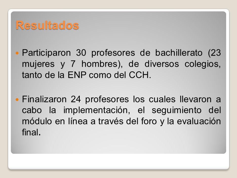 Resultados Participaron 30 profesores de bachillerato (23 mujeres y 7 hombres), de diversos colegios, tanto de la ENP como del CCH.