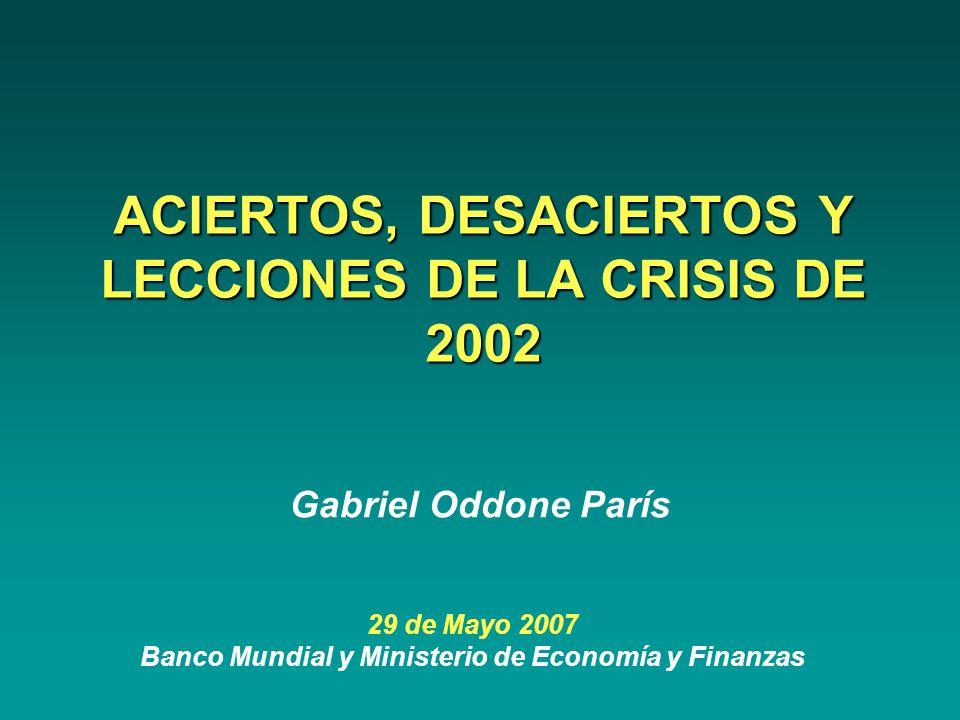 ACIERTOS, DESACIERTOS Y LECCIONES DE LA CRISIS DE 2002 29 de Mayo 2007 Banco Mundial y Ministerio de Economía y Finanzas Gabriel Oddone París