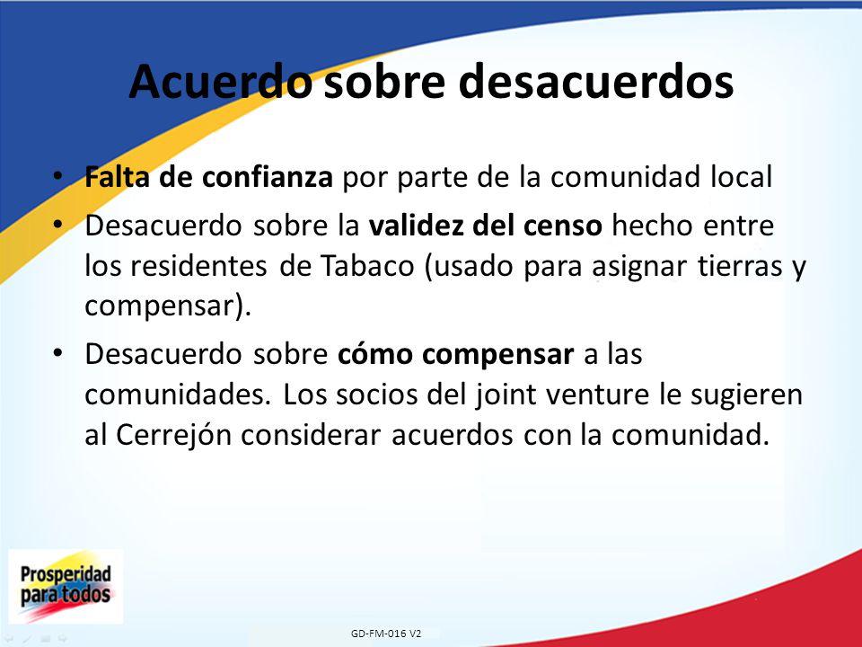 Acuerdo sobre desacuerdos Falta de confianza por parte de la comunidad local Desacuerdo sobre la validez del censo hecho entre los residentes de Tabaco (usado para asignar tierras y compensar).