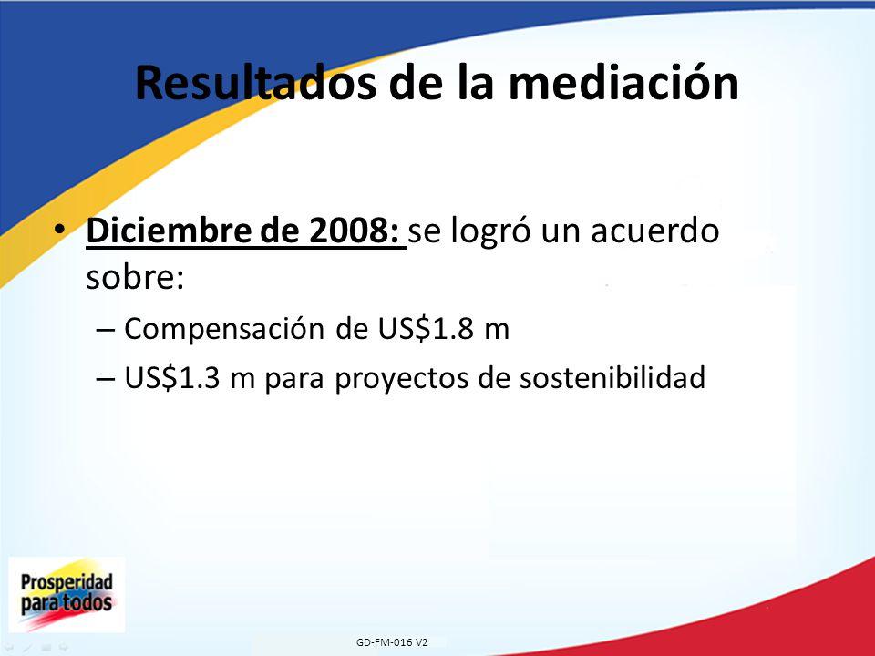 Resultados de la mediación Diciembre de 2008: se logró un acuerdo sobre: – Compensación de US$1.8 m – US$1.3 m para proyectos de sostenibilidad GD-FM-016 V2