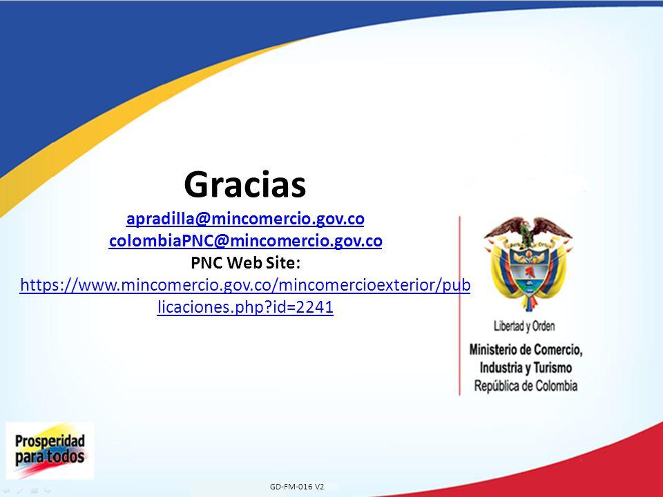 Gracias apradilla@mincomercio.gov.co colombiaPNC@mincomercio.gov.co PNC Web Site: https://www.mincomercio.gov.co/mincomercioexterior/pub licaciones.php id=2241 apradilla@mincomercio.gov.co colombiaPNC@mincomercio.gov.co https://www.mincomercio.gov.co/mincomercioexterior/pub licaciones.php id=2241