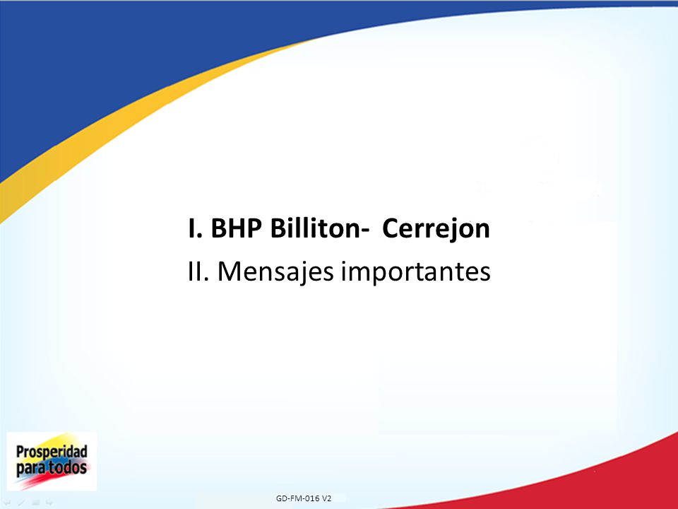 I. BHP Billiton- Cerrejon II. Mensajes importantes GD-FM-016 V2