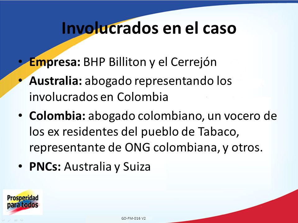 Involucrados en el caso Empresa: BHP Billiton y el Cerrejón Australia: abogado representando los involucrados en Colombia Colombia: abogado colombiano, un vocero de los ex residentes del pueblo de Tabaco, representante de ONG colombiana, y otros.