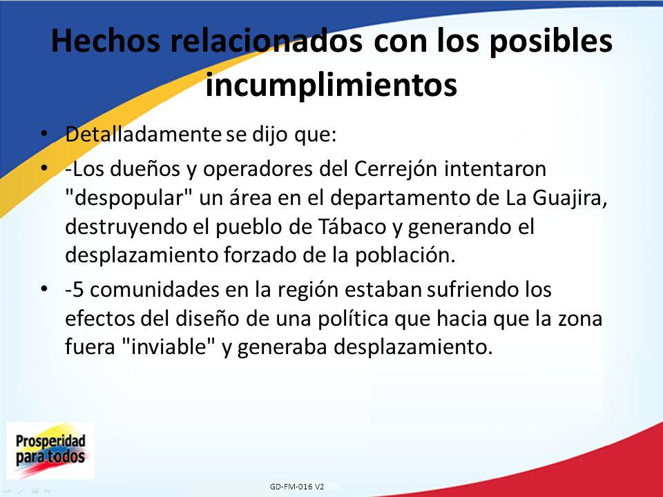 Hechos relacionados con los posibles incumplimientos Detalladamente se dijo que: -Los dueños y operadores del Cerrejón intentaron despopular un área en el departamento de La Guajira, destruyendo el pueblo de Tábaco y generando el desplazamiento forzado de la población.