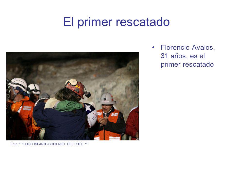 El primer rescatado Florencio Avalos, 31 años, es el primer rescatado Foto: *** HUGO INFANTE/GOBIERNO DEF CHILE ***