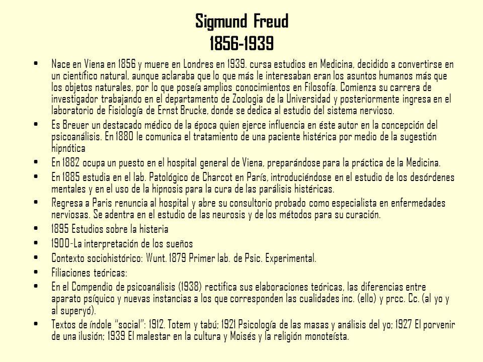 Sigmund Freud 1856-1939 Nace en Viena en 1856 y muere en Londres en 1939.