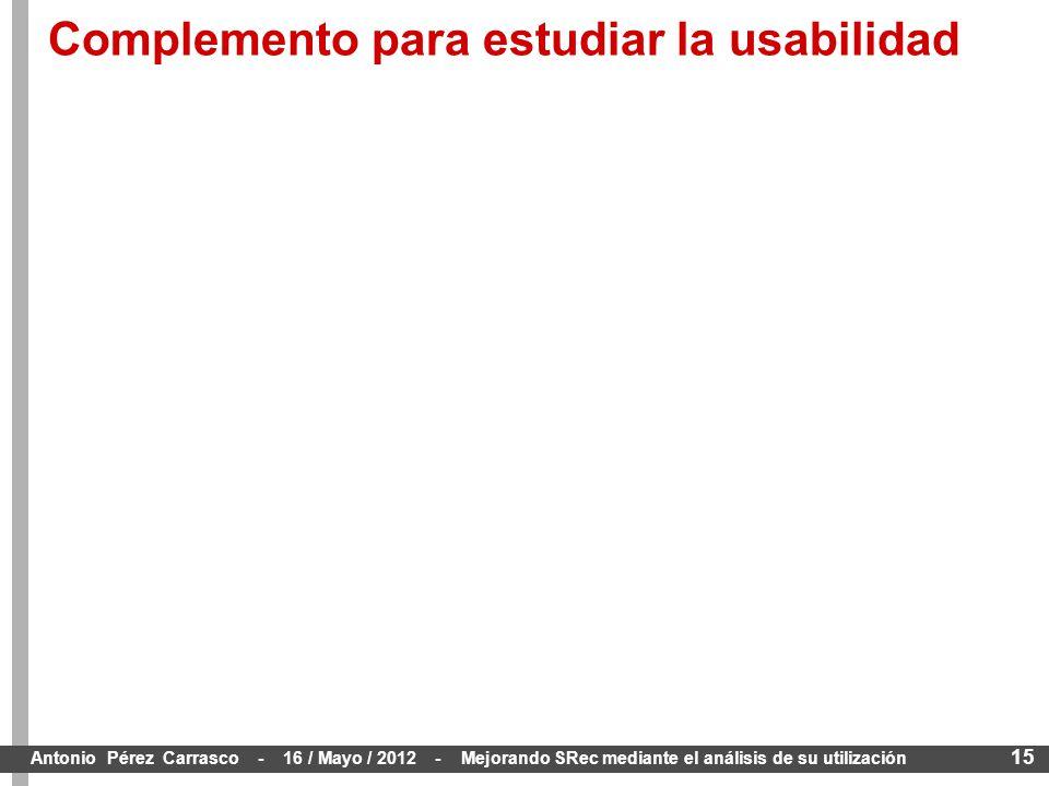 15 Antonio Pérez Carrasco - 16 / Mayo / 2012 - Mejorando SRec mediante el análisis de su utilización Complemento para estudiar la usabilidad