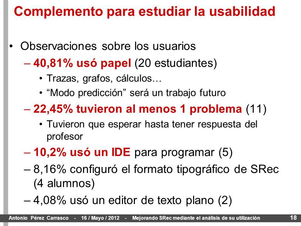 18 Antonio Pérez Carrasco - 16 / Mayo / 2012 - Mejorando SRec mediante el análisis de su utilización Observaciones sobre los usuarios –40,81% usó papel (20 estudiantes) Trazas, grafos, cálculos… Modo predicción será un trabajo futuro –22,45% tuvieron al menos 1 problema (11) Tuvieron que esperar hasta tener respuesta del profesor –10,2% usó un IDE para programar (5) –8,16% configuró el formato tipográfico de SRec (4 alumnos) –4,08% usó un editor de texto plano (2) Complemento para estudiar la usabilidad