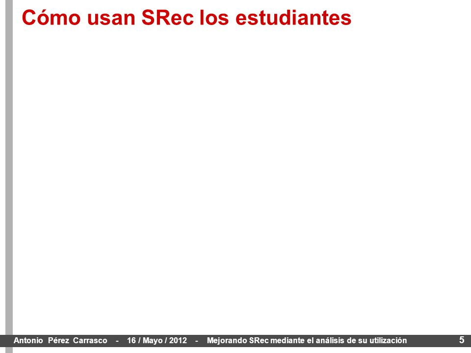 5 Antonio Pérez Carrasco - 16 / Mayo / 2012 - Mejorando SRec mediante el análisis de su utilización Cómo usan SRec los estudiantes