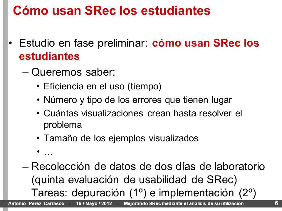 6 Antonio Pérez Carrasco - 16 / Mayo / 2012 - Mejorando SRec mediante el análisis de su utilización Estudio en fase preliminar: cómo usan SRec los estudiantes –Queremos saber: Eficiencia en el uso (tiempo) Número y tipo de los errores que tienen lugar Cuántas visualizaciones crean hasta resolver el problema Tamaño de los ejemplos visualizados … –Recolección de datos de dos días de laboratorio (quinta evaluación de usabilidad de SRec) Tareas: depuración (1º) e implementación (2º) Cómo usan SRec los estudiantes
