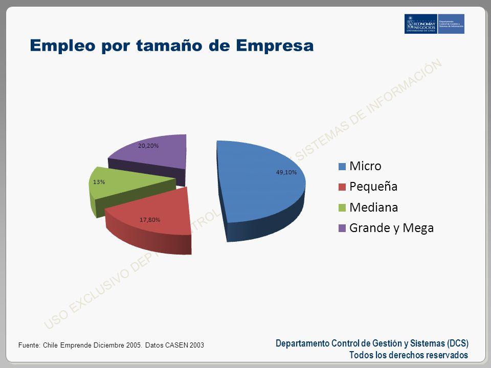 Departamento Control de Gestión y Sistemas (DCS) Todos los derechos reservados USO EXCLUSIVO DEPTO CONTROL DE GESTIÓN Y SISTEMAS DE INFORMACIÓN Empleo por tamaño de Empresa Fuente: Chile Emprende Diciembre 2005.
