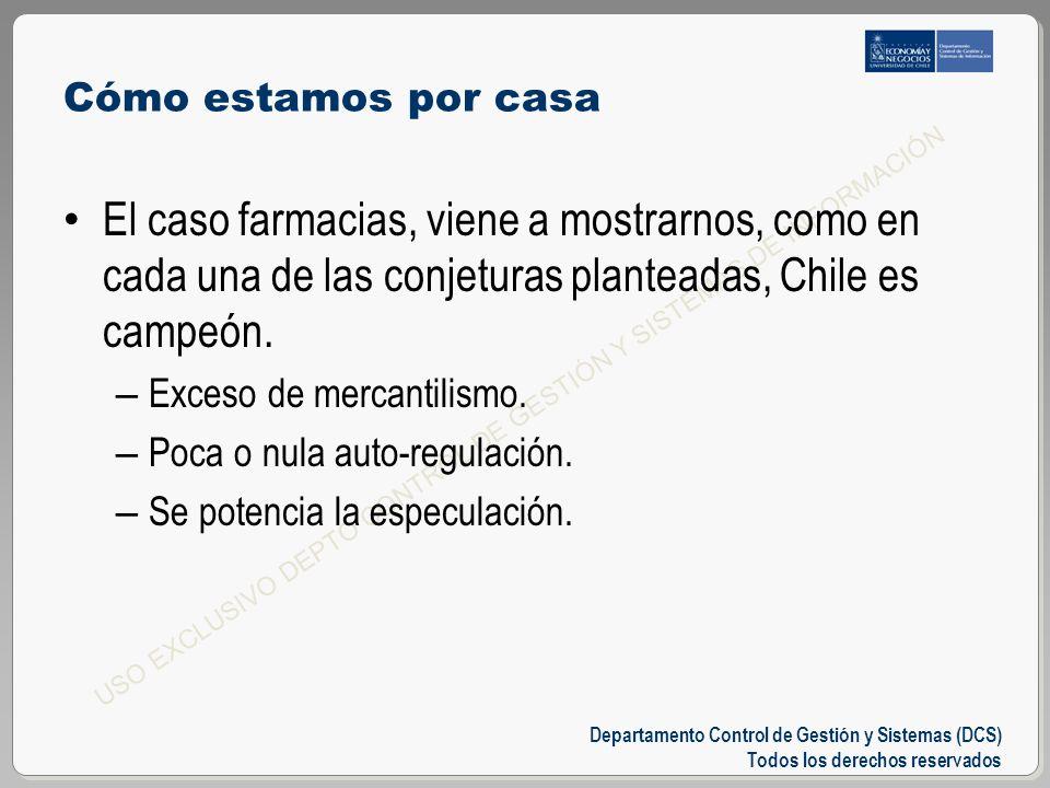 Departamento Control de Gestión y Sistemas (DCS) Todos los derechos reservados USO EXCLUSIVO DEPTO CONTROL DE GESTIÓN Y SISTEMAS DE INFORMACIÓN Cómo estamos por casa El caso farmacias, viene a mostrarnos, como en cada una de las conjeturas planteadas, Chile es campeón.