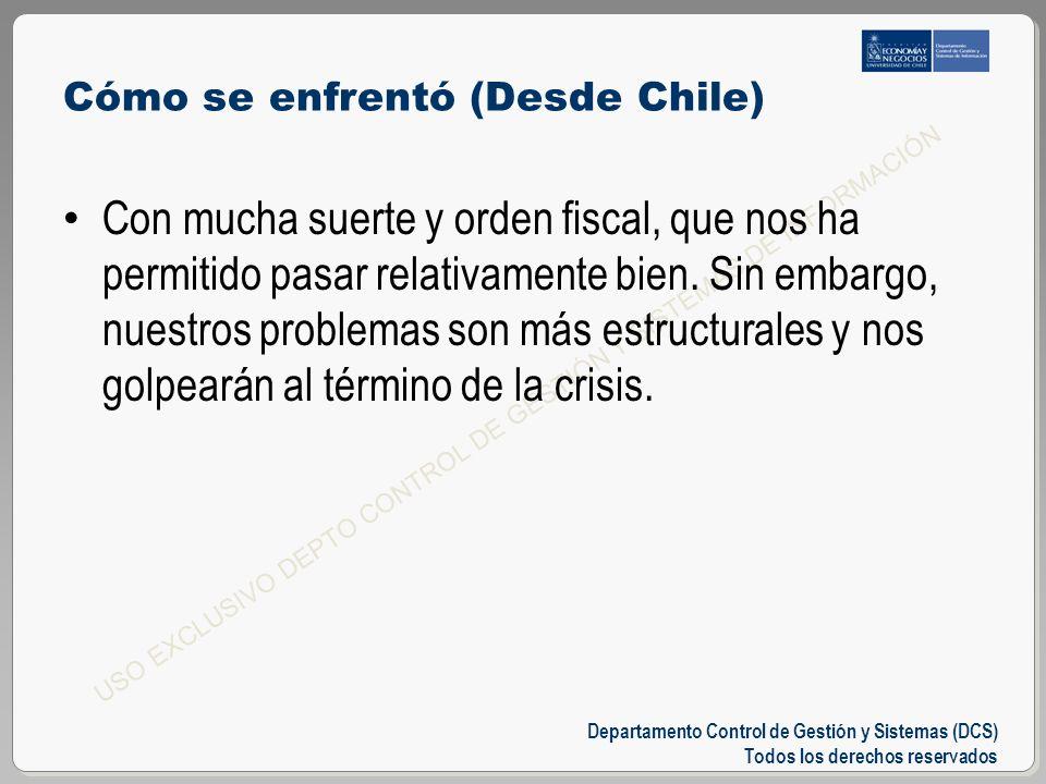 Departamento Control de Gestión y Sistemas (DCS) Todos los derechos reservados USO EXCLUSIVO DEPTO CONTROL DE GESTIÓN Y SISTEMAS DE INFORMACIÓN Cómo se enfrentó (Desde Chile) Con mucha suerte y orden fiscal, que nos ha permitido pasar relativamente bien.