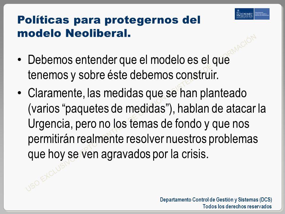 Departamento Control de Gestión y Sistemas (DCS) Todos los derechos reservados USO EXCLUSIVO DEPTO CONTROL DE GESTIÓN Y SISTEMAS DE INFORMACIÓN Políticas para protegernos del modelo Neoliberal.
