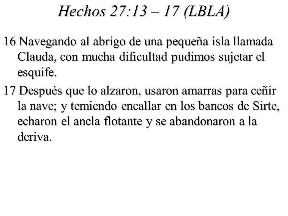 Hechos 27:13 – 17 (LBLA) 16 Navegando al abrigo de una pequeña isla llamada Clauda, con mucha dificultad pudimos sujetar el esquife.