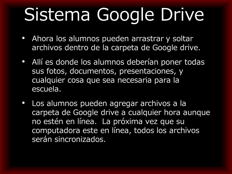 Sistema Google Drive Ahora los alumnos pueden arrastrar y soltar archivos dentro de la carpeta de Google drive.