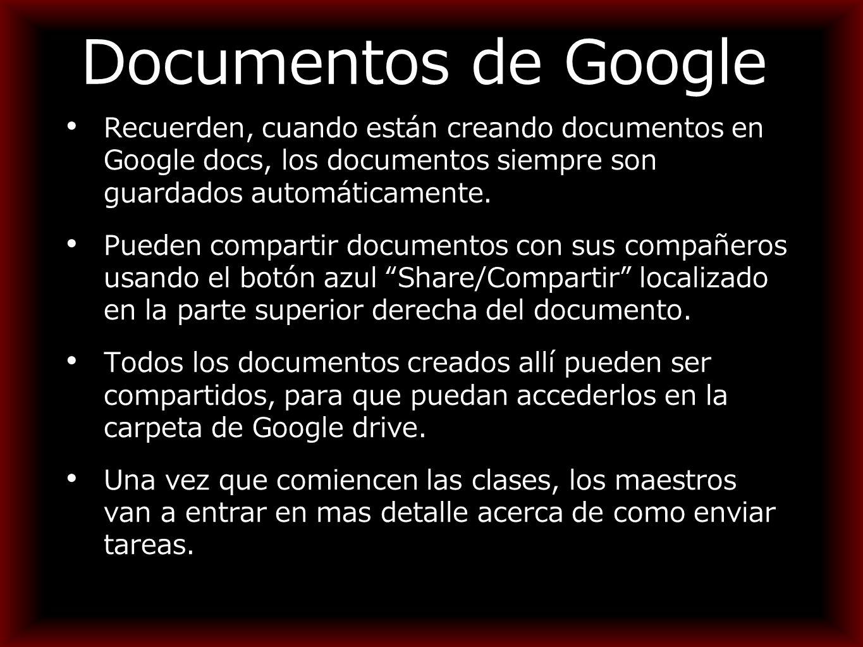 Documentos de Google Recuerden, cuando están creando documentos en Google docs, los documentos siempre son guardados automáticamente.