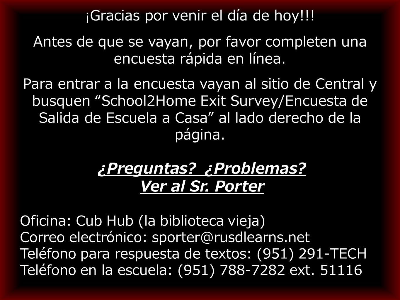 Oficina: Cub Hub (la biblioteca vieja) Correo electrónico: sporter@rusdlearns.net Teléfono para respuesta de textos: (951) 291-TECH Teléfono en la escuela: (951) 788-7282 ext.