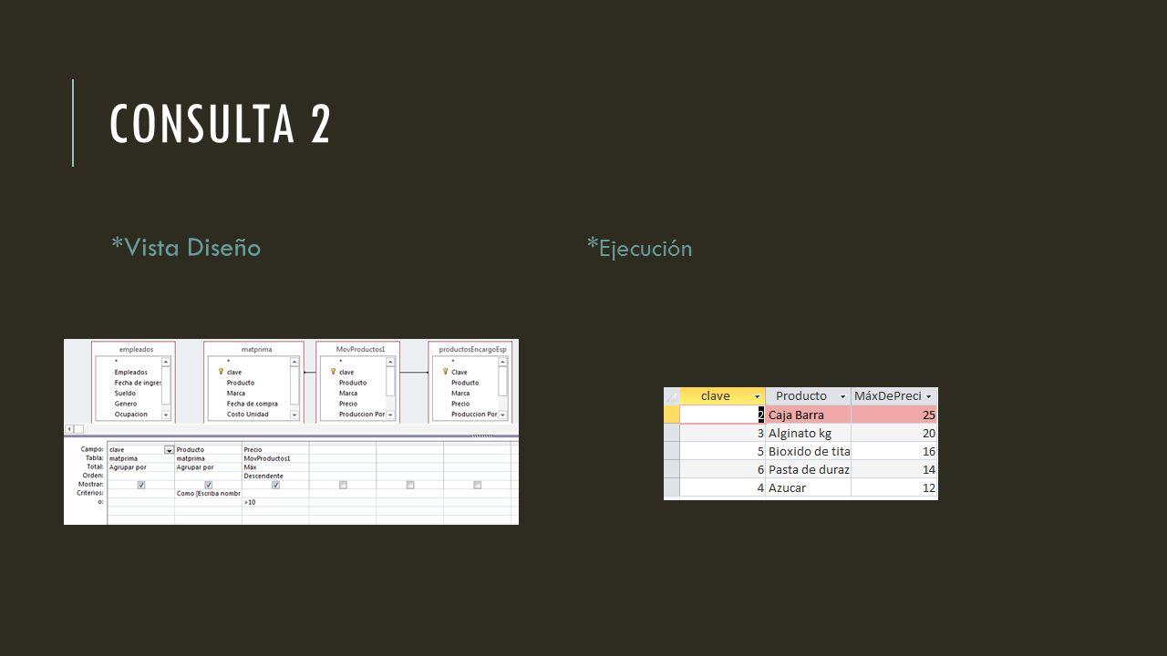 CONSULTA 2 *Vista Diseño* Ejecución