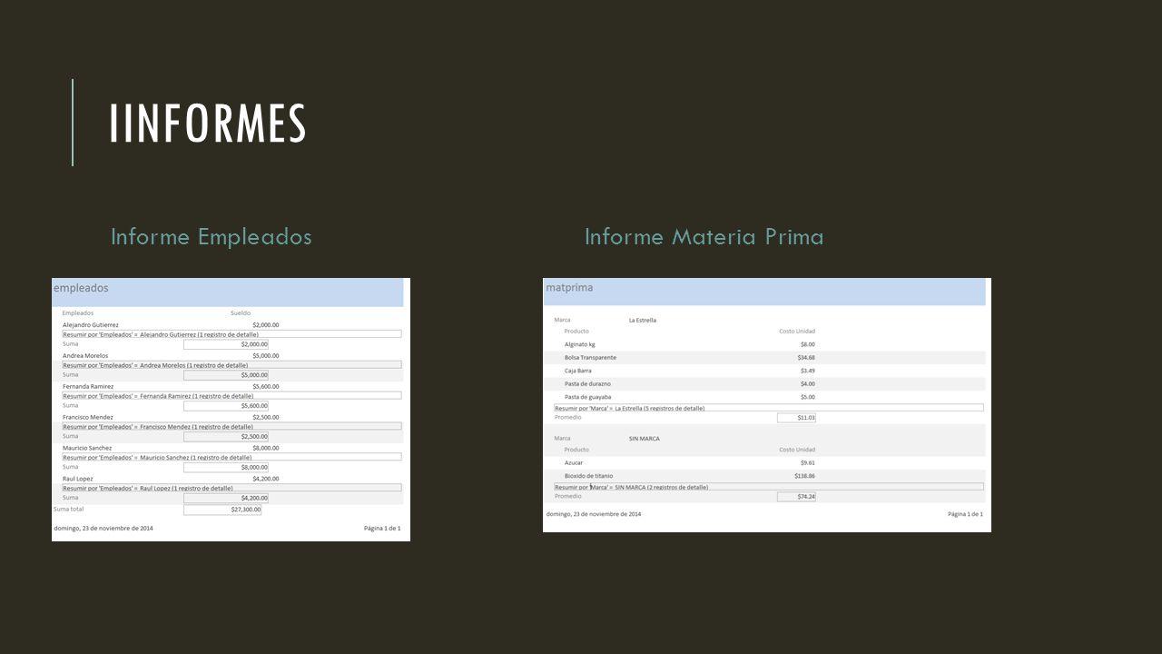 IINFORMES Informe Empleados Informe Materia Prima
