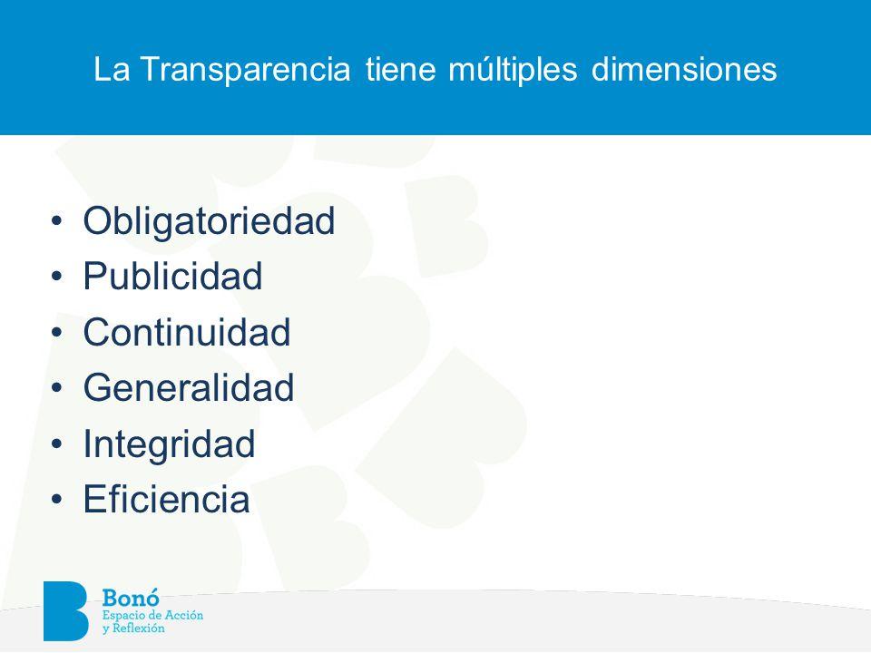 La Transparencia tiene múltiples dimensiones Obligatoriedad Publicidad Continuidad Generalidad Integridad Eficiencia