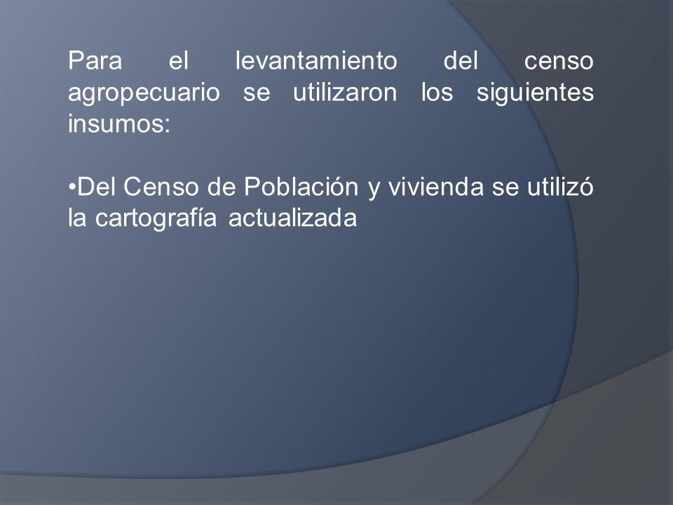 Para el levantamiento del censo agropecuario se utilizaron los siguientes insumos: Del Censo de Población y vivienda se utilizó la cartografía actualizada