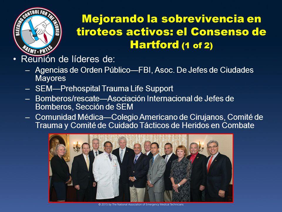 Mejorando la sobrevivencia en tiroteos activos: el Consenso de Hartford (1 of 2) Reunión de líderes de: –Agencias de Orden Público—FBI, Asoc.