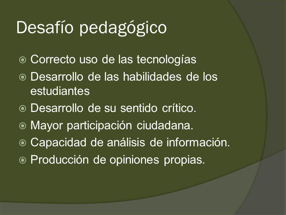 Desafío pedagógico  Correcto uso de las tecnologías  Desarrollo de las habilidades de los estudiantes  Desarrollo de su sentido crítico.