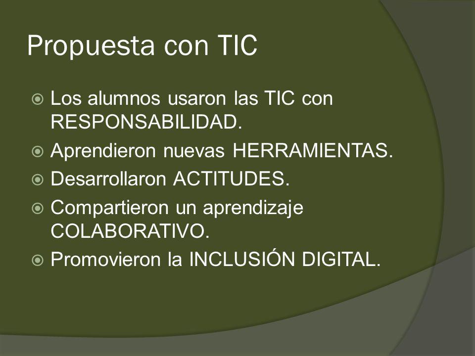 Propuesta con TIC  Los alumnos usaron las TIC con RESPONSABILIDAD.
