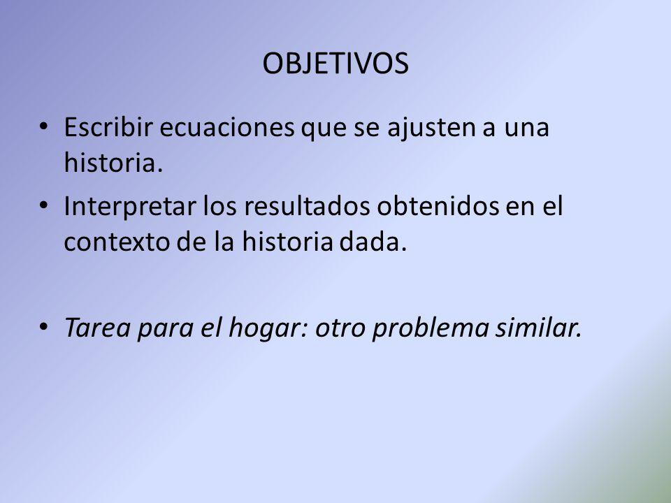 OBJETIVOS Escribir ecuaciones que se ajusten a una historia.