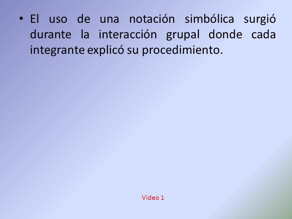 El uso de una notación simbólica surgió durante la interacción grupal donde cada integrante explicó su procedimiento.