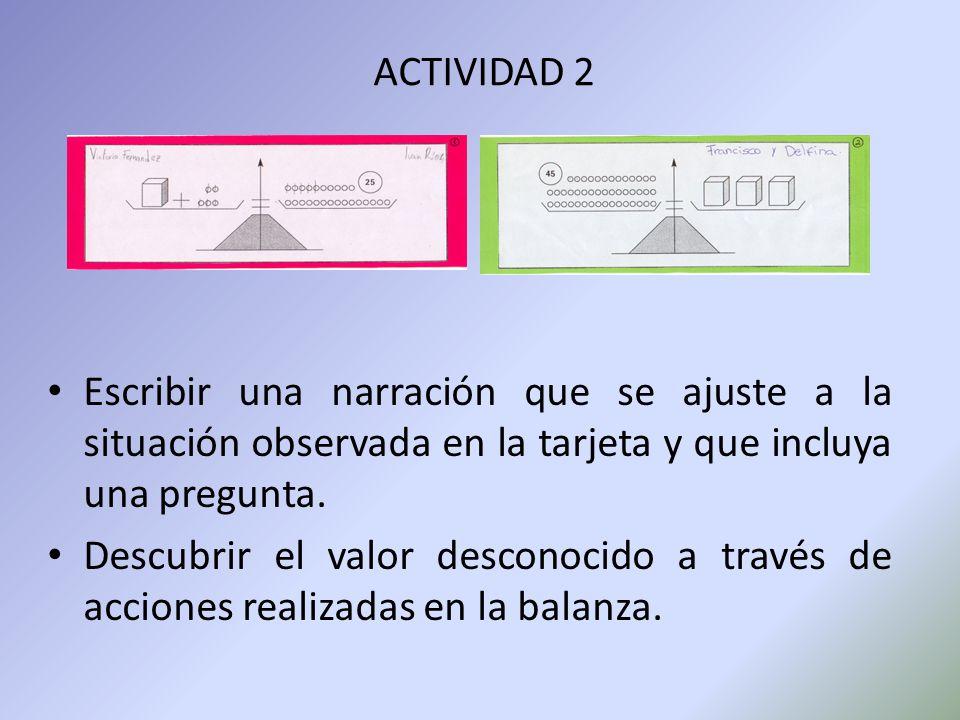 ACTIVIDAD 2 Escribir una narración que se ajuste a la situación observada en la tarjeta y que incluya una pregunta.