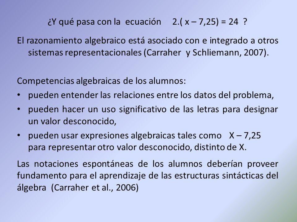 ¿Y qué pasa con la ecuación 2.( x – 7,25) = 24 .