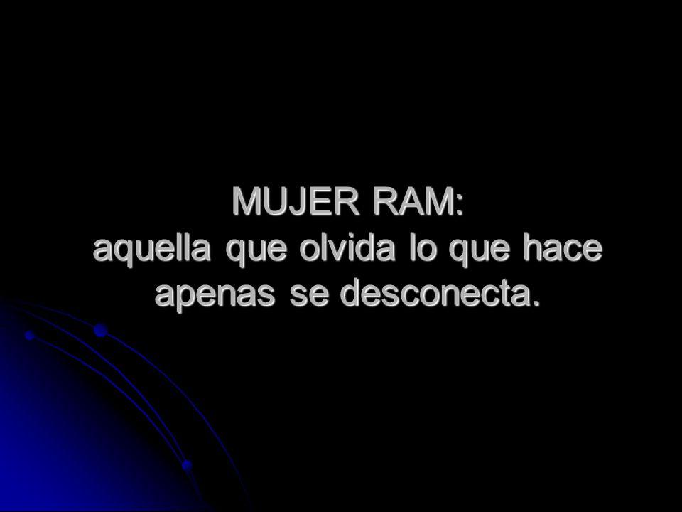 MUJER RAM: aquella que olvida lo que hace apenas se desconecta.