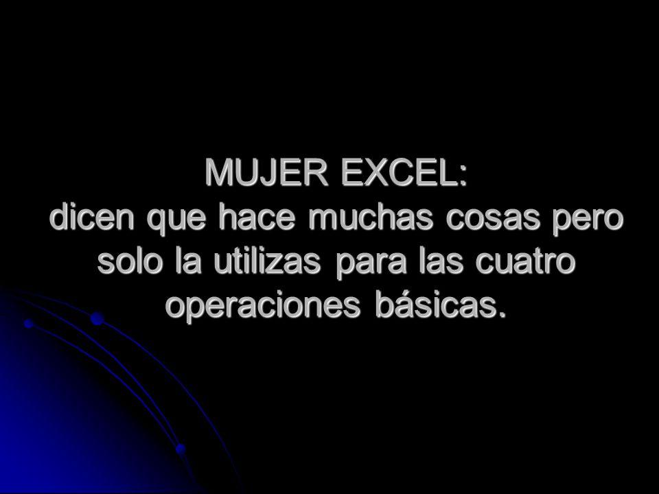 MUJER EXCEL: dicen que hace muchas cosas pero solo la utilizas para las cuatro operaciones básicas.
