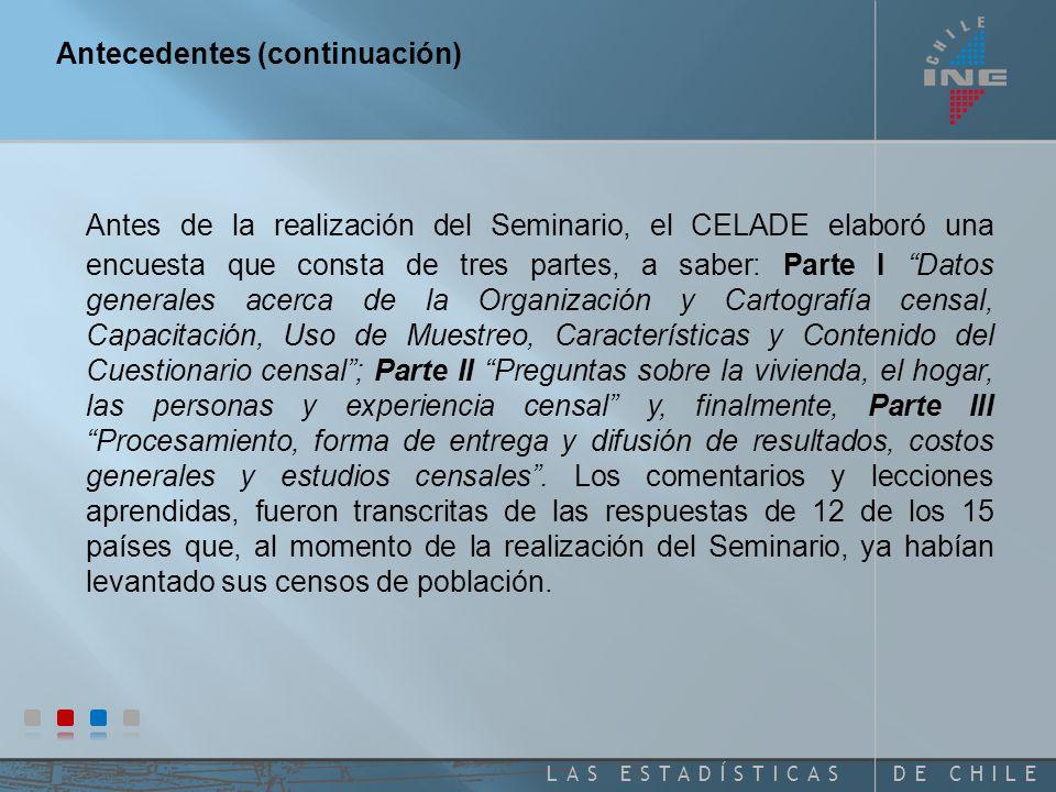 DE CHILELAS ESTADÍSTICAS Antecedentes Como parte de las actividades de evaluación de los censos realizados en la ronda 2000, se realizó el Seminario Técnico sobre Lecciones Aprendidas de los Censos de Población de la Ronda 2000 en América Latina .