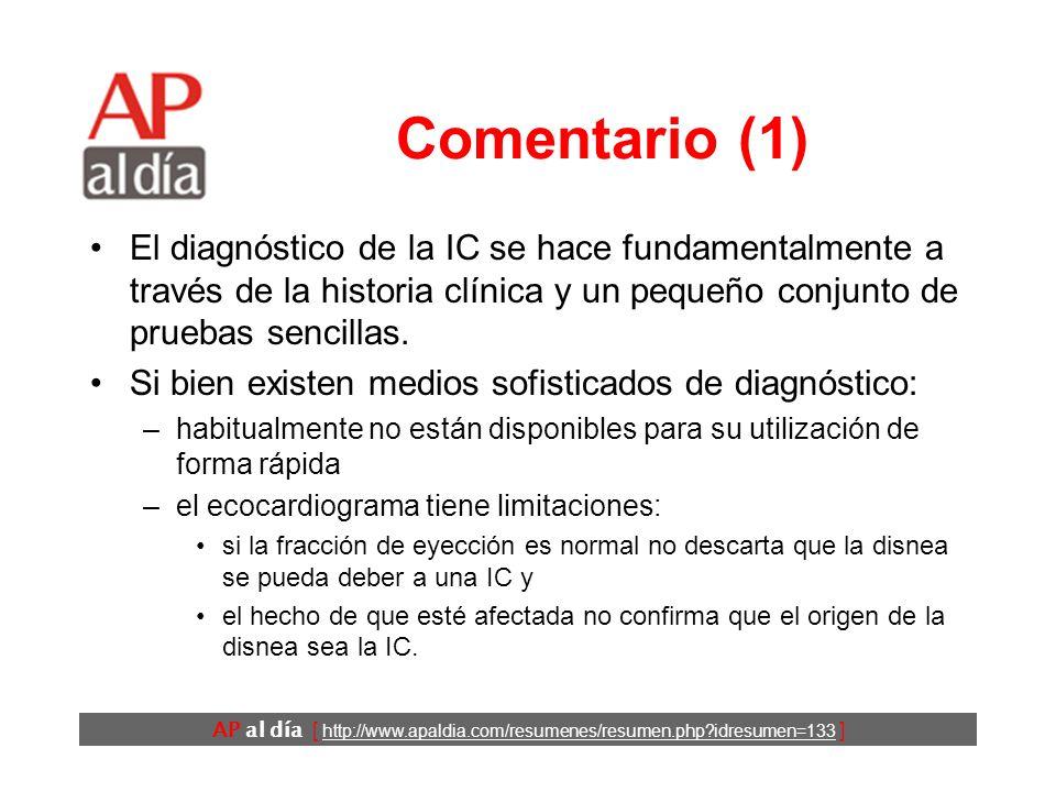 AP al día [ http://www.apaldia.com/resumenes/resumen.php idresumen=133 ] Conclusiones El diagnóstico de IC ante un paciente atendido por disnea en Urgencias se debe basar en la evaluación de un conjunto reducido de datos sobre los antecedentes, la sintomatología, la exploración física y la valoración de la Rx de tórax y el ECG.